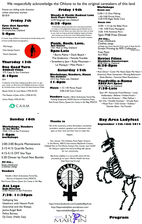Bay Area Ladyfest 2012 Program